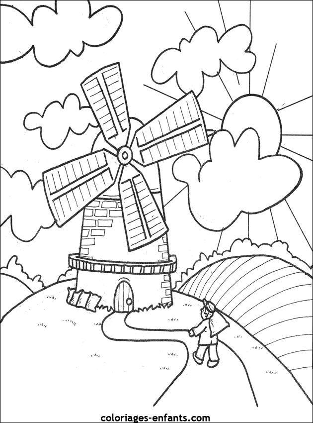 Les Coloriages De La Ferme A Imprimer Coloriage Dessin Paysage Moulin A Vent
