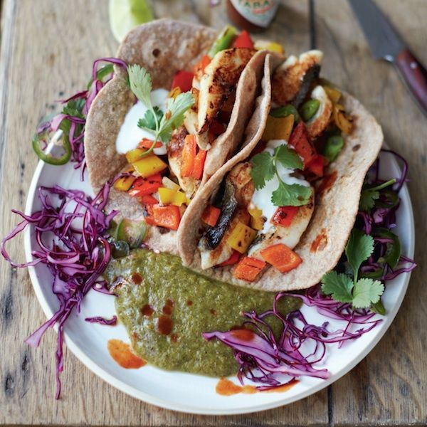 From his new cookbook, everyday superfood, Jamie Oliver shares a delicious recipe for fish tacos. #Jamiesveganandvegetarianrecipes