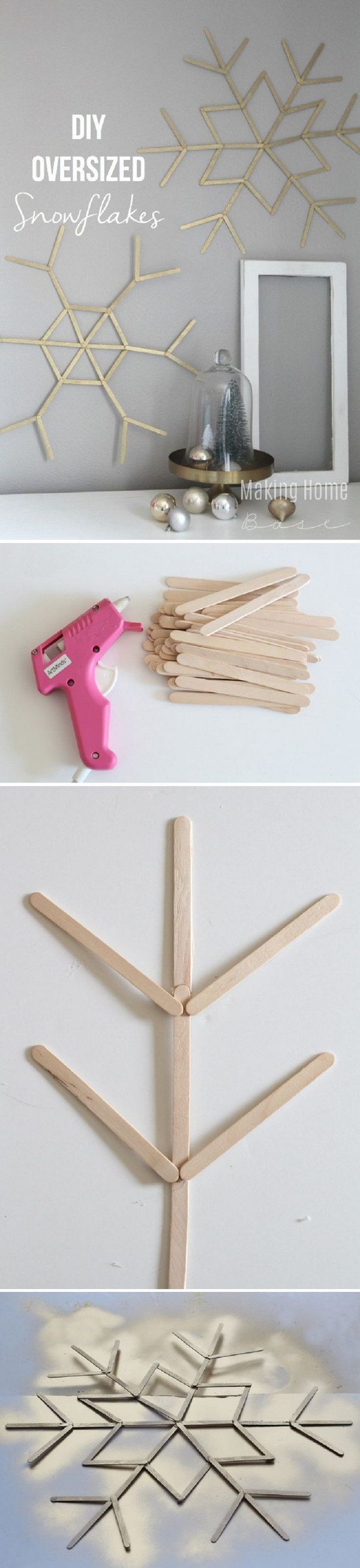 DIY Popsicle Stick Snowflakes. These DIY oversized snowflakes are made from popsicle sticks. They are the perfect oversized wall art for the winter decoration.