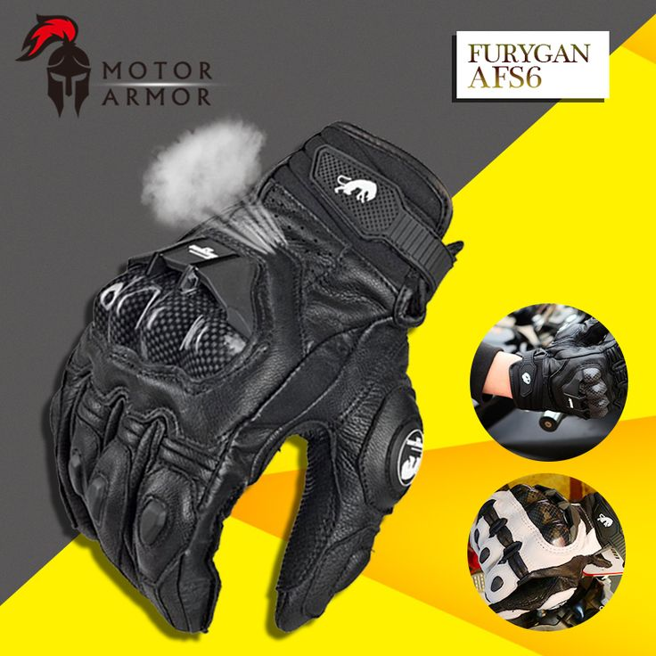 2016 New French Brand Furygan AFS6 Men's Motorcycle Gloves Racing Leather Gants Carbon Fiber Knukle Protection Black and White