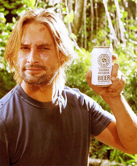 Josh Holloway (Sawyer) with Dharma Initiative beer....  <3
