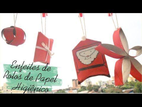 Enfeites de natal com rolos de papel higiênico #Ideias Natalinas - Parte 1