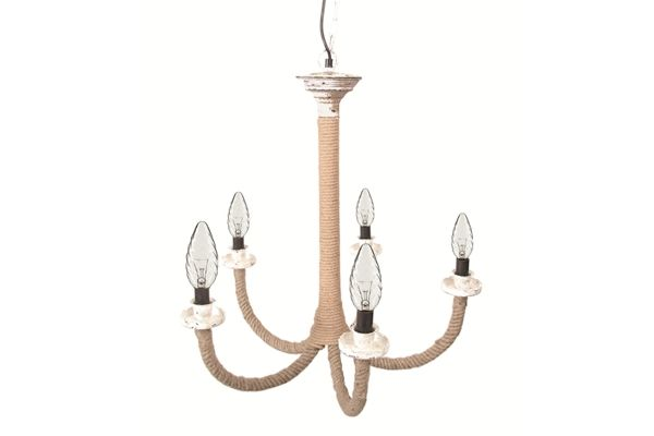 Casa uno Jute/Iron Hanging 5 Arm ChanDelier Home Ceiling Lighting Fixture - NEW