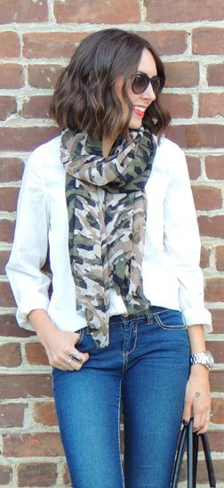 Camo scarf | Kacie's Kloset. Love how this scarf is styled.