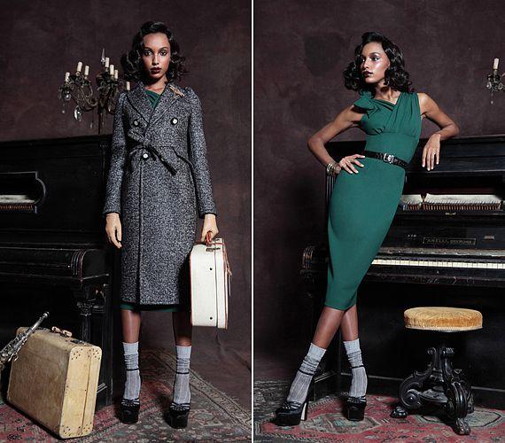 A vintage glamúr trendben a nőies és férfias elemek keverednek egymással. Az egyszerű tweed kabátka utazáshoz tökéletes, ám alatta észbontóan szexi, testhezálló, smaragdzöld ruha lapul.