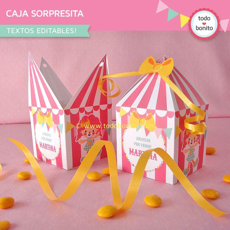 Cajita carpa circo rosa