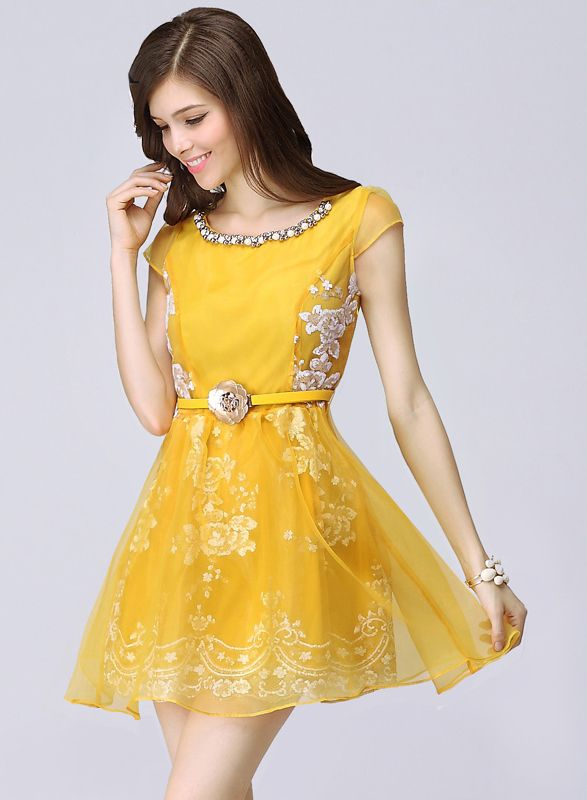 Yellow Short Sleeve Bead Embroidery Flare Dress