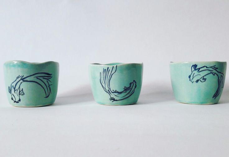 🌊Koi Fish 🐠 teacup,ceramic, pottery, cup