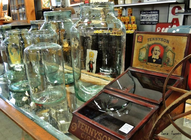 Tennyson cigars, vintage glass jars, antique, flea market, treasures