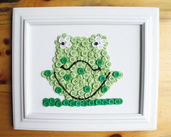 Frog Button Art, Green,Canvas Panel, 8 x 10