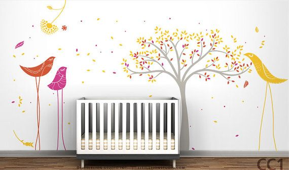 Fall Tree & Birds Mural Wall Decal by LittleLion Studio - Modern tree and birds - Fall Carnival