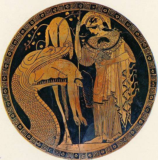 """Douris Cup, Vatican c. 470 BCE    Look at the snakes coming off of Athena's Aegis...and the Medusa """"head"""" on her chest not on her shield."""