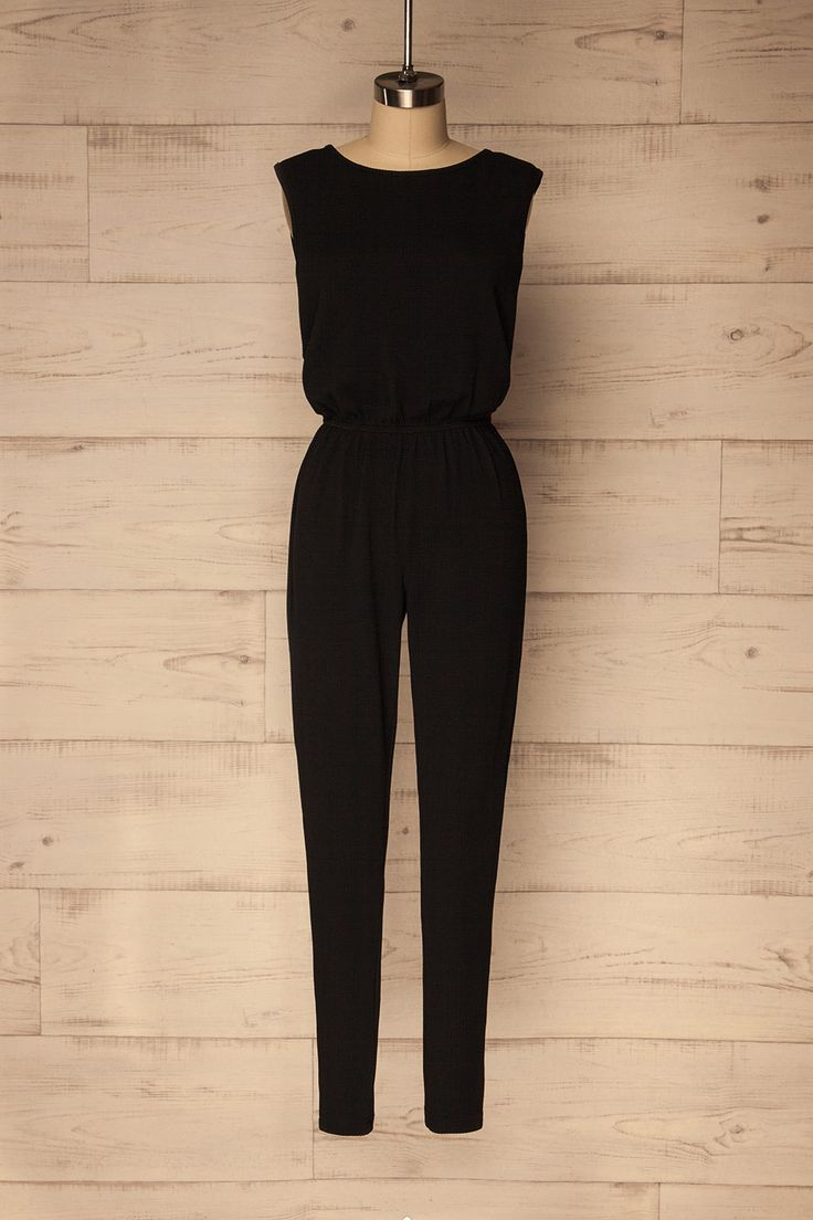 Valstagna #Boutique1861 / This black sleeveless jumpsuit is perfect for springtime. You'll be comfortable thanks to the light and stretchy material, while the raised texture adds a little something different. Its simplicity makes it easy to add all kinds of accessories to create different types of outfits and to make it your own!