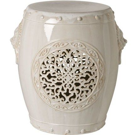 "Limited Production Design & Stock: 21"" White Chinese Medallion Garden Stool * Min Order 2 Units * Click Image For Full Screen View"