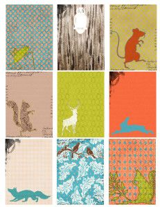 FREE Printable ATC Collage Sheet - Woodland Creatures [ Click and Print ]