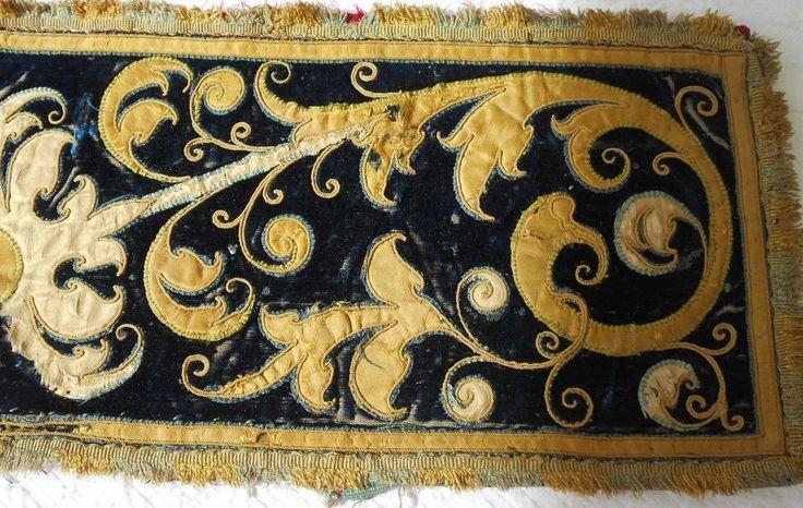 СТАРИННЫЙ 18 C французский stumpwork вышивка шелк бархатной ткани границы гобелен