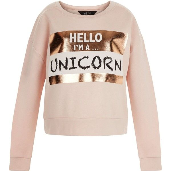 New Look Teens Shell Pink Unicorn Print Foil Sweater (180 SEK) ❤ liked on Polyvore featuring tops, sweaters, shell pink, pink sweater, long sleeve sweaters, unicorn sweater, round neck sweater and shell tops