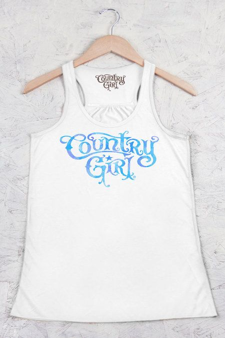 Juniors Country Girls™™ Watercolor Logo Flowy Racerback Tank | Our Junior fit flowy racerback tank is made with lightweight soft blend fabric. A-line body and sheering at racerback seam. • 3.7 oz., 65/35 polyester/viscose • Snug, fashion fit