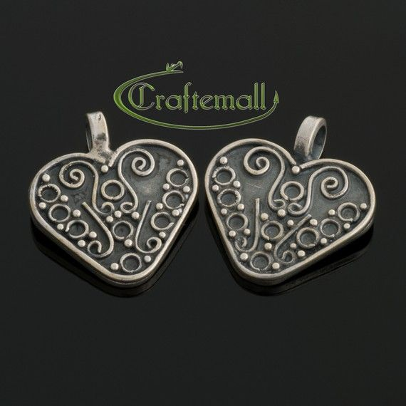 1 Sterling Silver Oxidized Heart Shaped Bali Charm by Craftemall, $10.30