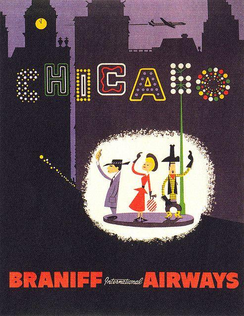Chicago * Braniff Airways #travel #poster 1960s