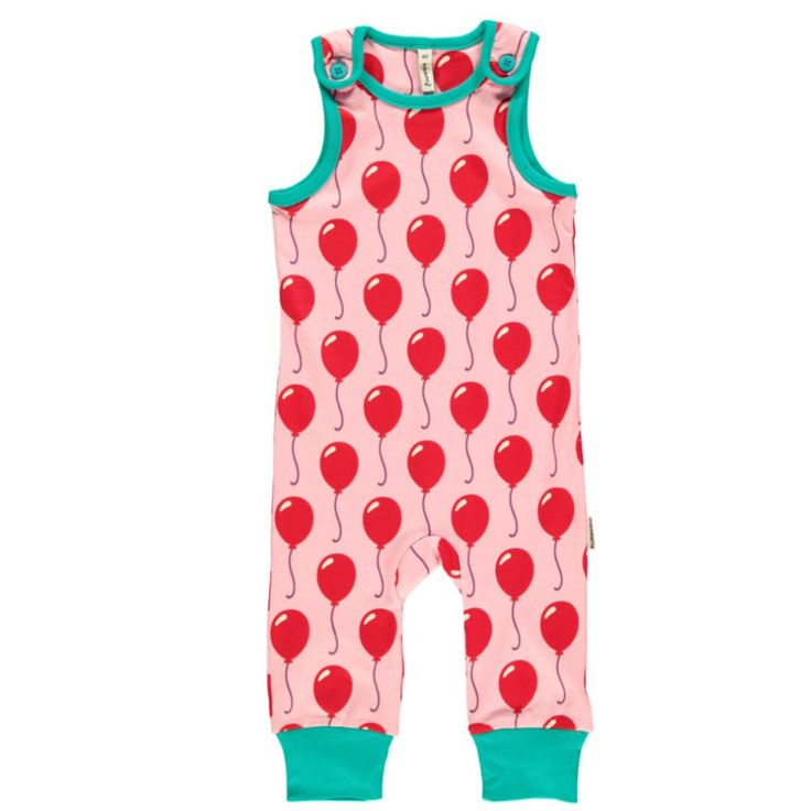 This little child's toddler playsuit from Maxomorra is just adorable, with a bright bold balloon print. Available for ages 12 months to 2 years.