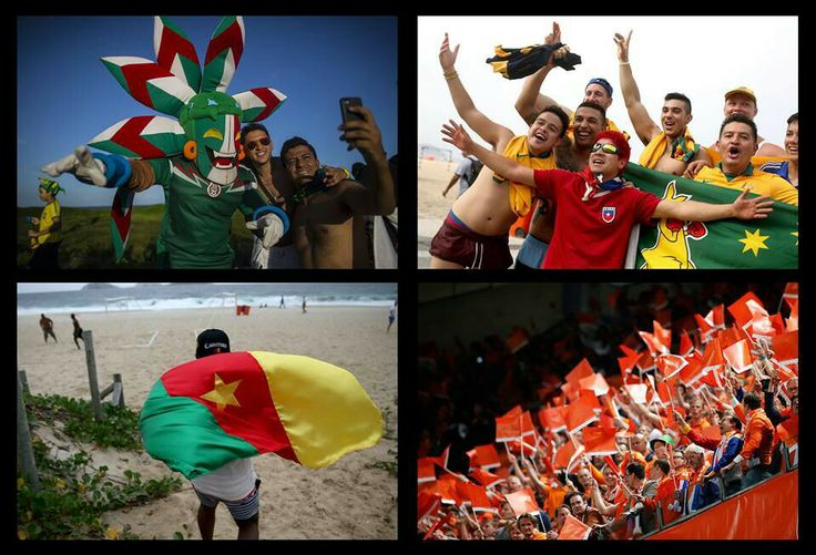 Fans of Mexico and Cameroon