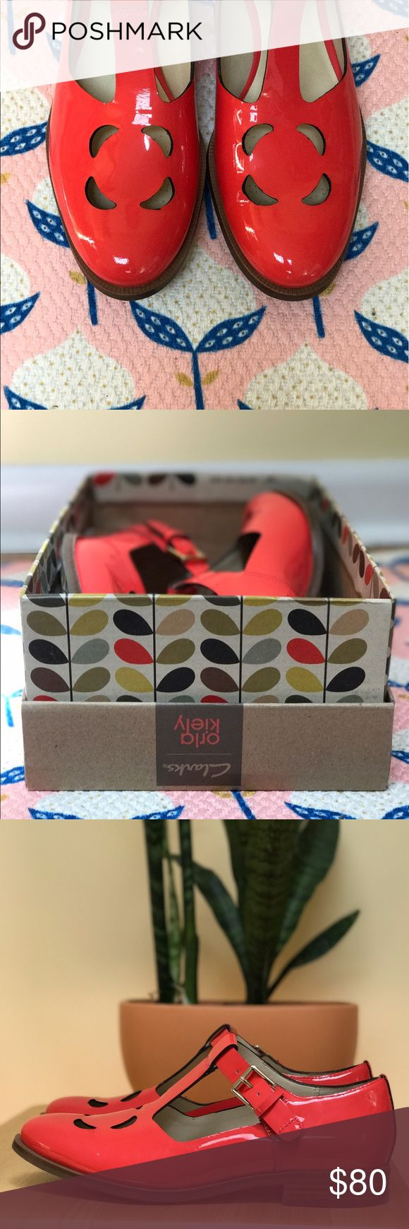 Clarks x Orla Kiely | IN BOX | patent leather Poppy red, patent leather t-strap Mary-Janes with flower cutout from Clarks' collaboration with designer Orla Kiely. Tried on a few times, like new. In box. Size 7.5 Orla Kiely Shoes