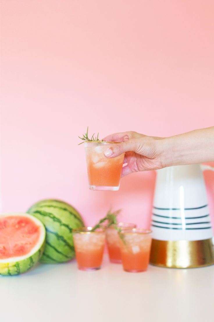 Spiked Watermelon Rosemary Punch for July 4th