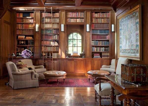 أفضل 10 تصاميم كلاسيكية للمكتبة المنزلية إمتلاكك تصميم مكتبة كلاسيكية في منزلك يشعرك بالراحة والجمال وإليك أ Home Library Design Home Libraries Home Library