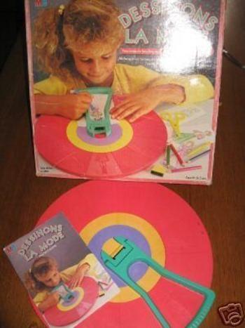 """Dessinons la mode, jouets sortis vers 1985-87, cela comprenait une roue, un tampon.<?xml:namespace prefix = o ns = """"urn:schemas-microsoft-com:office:office"""" /><o:p></o:p> Il suffisait de glisser une..."""
