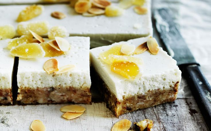 Ginger slice lovers rejoice! This delicious vegan friendly slice is layered with creamy coconut and topped roasted flake almonds and crystallized ginger. Recipe by the Australian Women's Weekly.