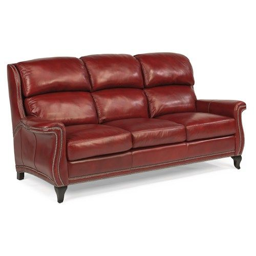 Flexsteel Latitudes-Sting Ray Transitional Sofa with Wide-Flared Arms and Nailhead Border