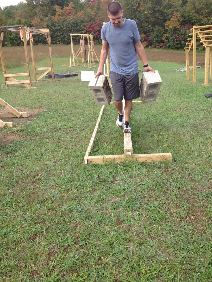 Backyard Ninja Warrior Obstacles :  walking on the Balance Beam  Next American Ninja Warrior Ob