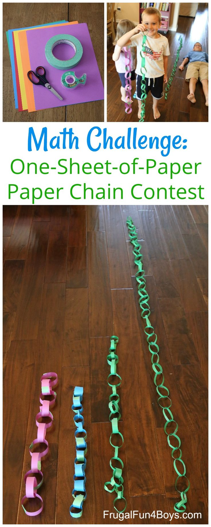 STEM Challenge: One-Piece-of-Paper Paper Chain Contest. Fun math activity for kids!
