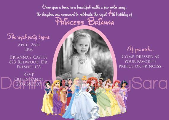 Disney Princesses Birthday Photo by DarlingDesignsbySara on Etsy, $17.99