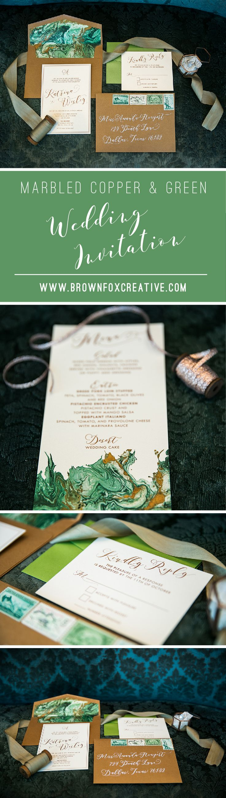 print yourself wedding invitations kit%0A Shades of Green  u     Copper Marble  Rose Gold and Ivory Wedding Invitation  u      Includes Envelope