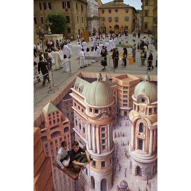 Chalk in three dimensions: the pavement art of Kurt Wenner.