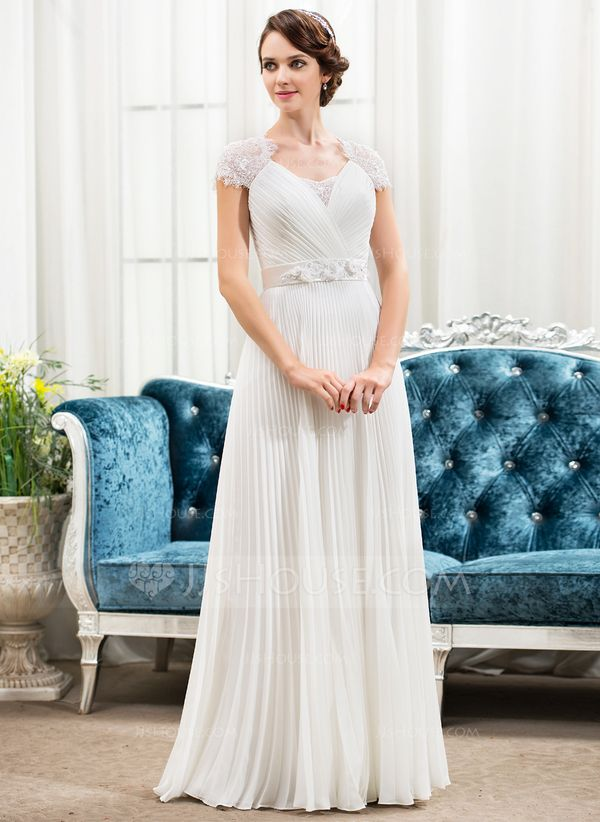 Vestidos princesa/ Formato A Coração Longos De chiffon Cetim Renda Vestido de noiva com Bordado fecho de correr Lantejoulas Plissada (002056475)