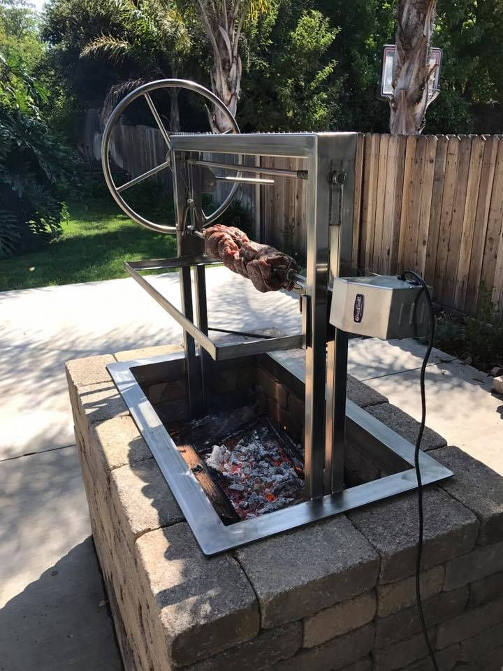 36x24 Stainless Santa Maria Countertop Drop In Frame With Height Adjustable Rotisserie By Jd Fabrications Outdoor Kitchen Design Backyard Grilling Backyard Grill Ideas