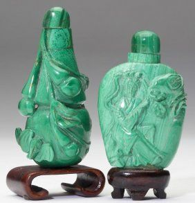 Two Chinese Malachite Snuff Bottles