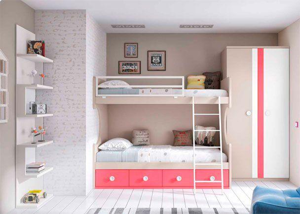 dormitorio infantil con literas librera y armario