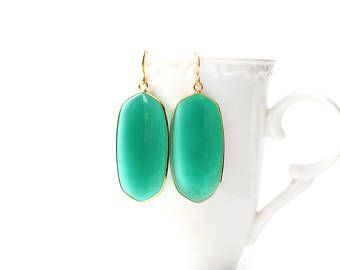 Polished Gold Plated Oval Green Jade Earrings
