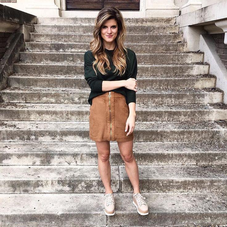 Dark green sweater+cognac suede skirt+beige plattform sneakers. Fall Casual Outfit 2016