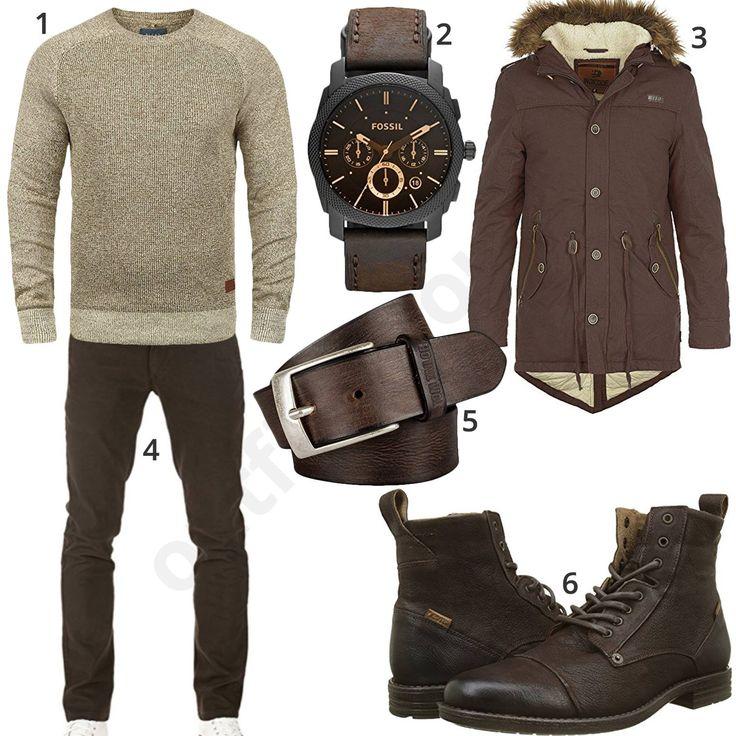 Winteroutfit für Männer mit beigem Blend Pullover, Fossil Herrenarmbanduhr, brauner Indicode Winterjacke, Pittman Chino, Tom Tailor Ledergürtel und Levi's Stiefeln. #outfit #style #herrenmode #männermode #fashion #menswear #herren #männer #mode #menstyle #mensfashion #menswear #inspiration #cloth #ootd #herrenoutfit #männeroutfit