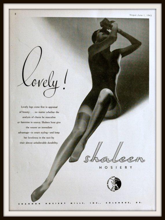 1943 Shaleen Hosiery Advertisement. Vintage Vogue ad. Vintage hosiery ad. Vintage Fashion ad. Vintage Shaleen ad