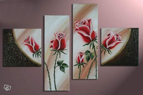 FRAMED 4 PIECE RED ROSE WALL ART! RUSTIC CANVAS SALE FREE SHIPPING – YOUR ART & DECOR