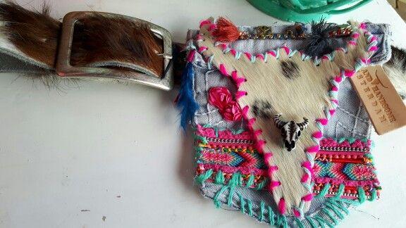 Hipster/buideltasje with belt Handmade