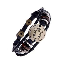 Zodiac Leather Charm Bracelets For Women Men Vintage Beaded