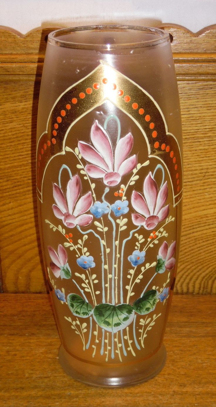 3457 best malovan sklo images on pinterest czech glass glass old antique bohemian moser gold floral gilded glass vase 9 12 reviewsmspy