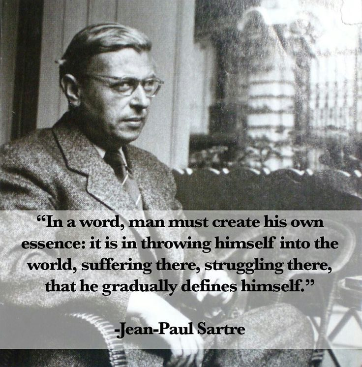 photo of Satre with famous quote about existialism